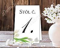 Grafika - Číslovanie stolov s bielymi tulipánmi - 9099715_
