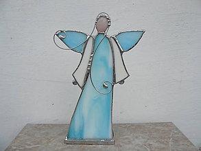 Svietidlá a sviečky - Belasý anjel - svietnik - 9097833_