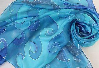 Šatky - Na modrej vlne..hodvábna šatka - 9096072_