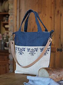Veľké tašky - Veľká ľanová taška/kabelka s ručnou potlačou