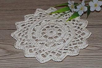 Úžitkový textil - Háčkovaná podložka Smotanový kvet - 9096362_