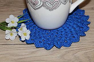 Úžitkový textil - Háčkovaná podložka Modrá slivka - 9096837_