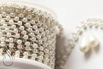 Galantéria - štrasová retiazka perličková -Silver/2,2mm / 10cm - 9099057_