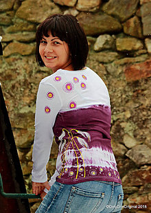 Tričká - Dámske tričko batikované, maľované SNEŽIENKY  - 9096388_