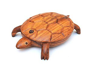 Krabičky - Drevená korytnačka pokladnička   Wooden turtle jewelry box // ring dish - 9099080_