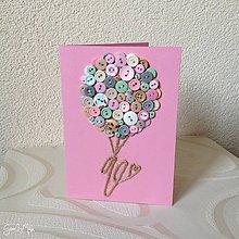 Papiernictvo - Gombíkové blahoželanie ku krstu (Ružový balónik) - 9098401_