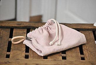 Úžitkový textil - ľanové vrecko na desiatu (sivoružové) - 9097894_