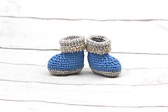 Topánočky - -50% Modro-béžové papučky zimné FINE - 9096597_