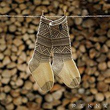 Obuv - Ponožky z ovčej vlny STRÁŽOV  (Hnedo - zelená (42-43, 44-45, 46-47)) - 9097398_