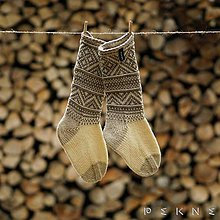 Obuv - Ponožky z ovčej vlny STRÁŽOV  (Natural - tmavomodrá (42-43, 44-45, 46-47)) - 9097404_