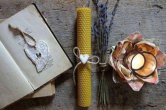Svietidlá a sviečky - sviečka z včelieho vosku veľká- pre zaľúbených - 9096277_