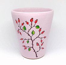 Nádoby - Keramický hrnček ružový - šípky - 9099185_