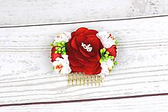 Ozdoby do vlasov - Hrebienok červený ruža - 9097342_