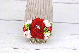 Ozdoby do vlasov - Hrebienok červený ruža - 9097332_