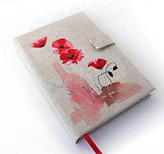 Papiernictvo - Maľovaný zápisník Vlčí mak - A5 - 9097605_