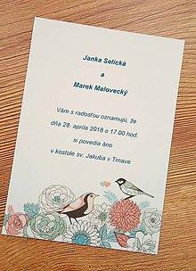 Papiernictvo - svadobné oznámenie s vtáčikmi - 9096793_