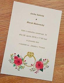 Papiernictvo - svadobné oznámenie s prsteňom - 9097291_