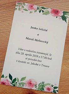 Papiernictvo - svadobné oznámenie s ružami - 9097300_