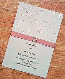 Papiernictvo - svadobné oznámenie so stuhou - 9098032_