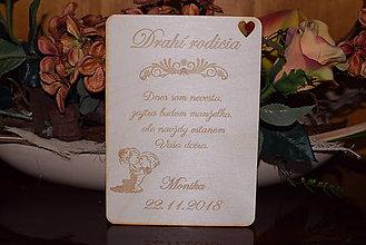 Darčeky pre svadobčanov - Poďakovanie rodičom drevená tabuľka 3 - 9095847_