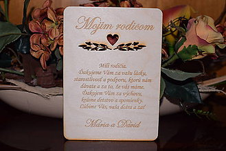 Darčeky pre svadobčanov - Poďakovanie rodičom drevená tabuľka 4 - 9095850_