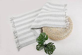 Úžitkový textil - Háčkovaný koberec so strapcami - scandinavian living (Čierna) - 9097055_