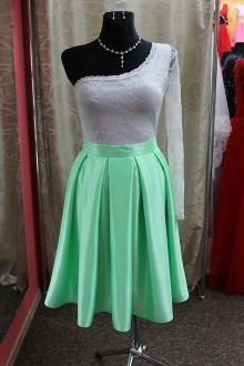 Sukne - Zelenkavá skladaná sukňa - 9101643_