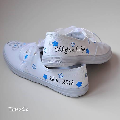 84a0680a8e Svadobné tenisky s modrou   TanaGo - SAShE.sk - Handmade Obuv