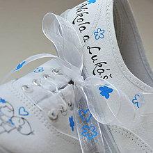 Obuv - Svadobné tenisky s modrou - 9102634_