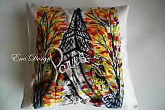 Úžitkový textil - Paris - ručne maľovaný vankúšik - 9104256_