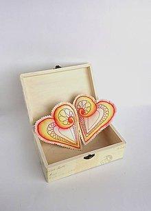 Dekorácie - Srdiečka maľované štetcom a ihlou  (Oranžová) - 9105711_