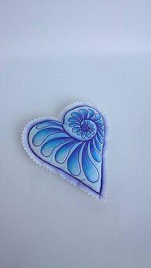 Dekorácie - Srdiečka maľované štetcom a ihlou - kus (Modrá) - 9105905_