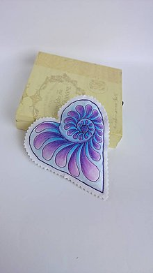 Dekorácie - Srdiečka maľované štetcom a ihlou - kus (Fialová) - 9105912_