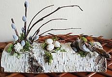Dekorácie - natur veľkonočná dekorácia na brezovom dreve - 9103400_