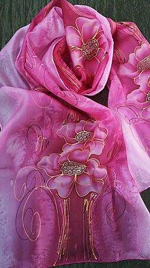 Šatky - bordovo-ružové kvety - 9103592_