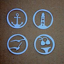 Materiál ručne robený - Výrezy More a dovolenka (Strieborná) - 9104870_