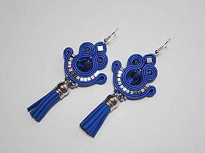 Náušnice - Šujtášové náušnice so strapcom Made in Slovakia (Modrá) - 9105521_