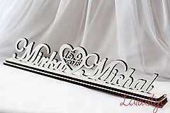 Dekorácie - Novomanželia - mená+dátum svadby+podstavec - 9101436_