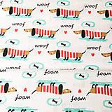 - psíky v pásikavom tričku; 100 % bavlna, šírka 160 cm, cena za 0,5 m - 9100803_