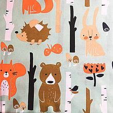 Textil - v lese; 100 % bavlna, šírka 160 cm, cena za 0,5 m - 9100831_