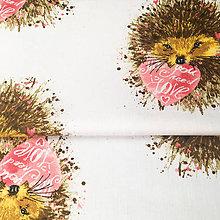 Textil - ježko so srdiečkom; 100 % bavlna, šírka 160 cm, cena za 0,5 m - 9100840_