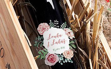 Darčeky pre svadobčanov - Svadobné etikety - maľovaný venček - 9102853_