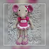 Hračky - Háčkovaná myška s menom dieťaťa - 9104110_