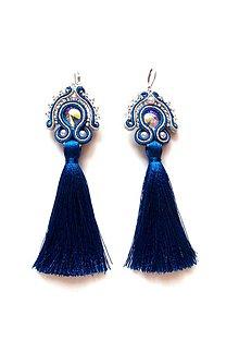 Náušnice - Šujtášové náušnice so strapcom - kráľovská modrá - 9104119_