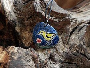 Náhrdelníky - Vtáčik a kvetinka v noci - 9101702_