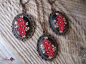 Sady šperkov - Súprava náhrdelník a náušnice s červenými kvetmi - 9100864_
