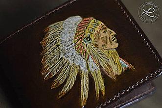 Peňaženky - Kožená pánska peňaženka - zdobená na zákazku - 9103839_