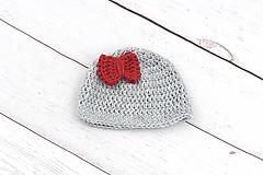 Detské čiapky - Šedo-červená čiapka zimná EXTRA FINE - 9102378_