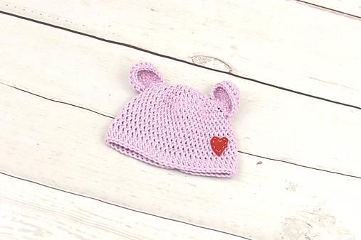 083a9cd6bbeeb VÝPREDAJ! Ružová čiapka macko zimná EXTRA FINE (srdiečko ...