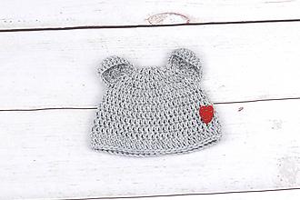 Detské čiapky - Šedá čiapka macko zimná EXTRA FINE (srdiečko) - 9102330_